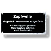 Sign for power take-off shaft switching, operating sign...