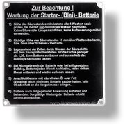 Bedienungsschild für Batterie (Wartung der...