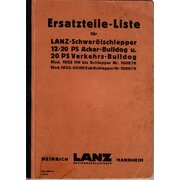 Ersatzteilliste für LANZ-Schwerölschlepper 12/20 PS...